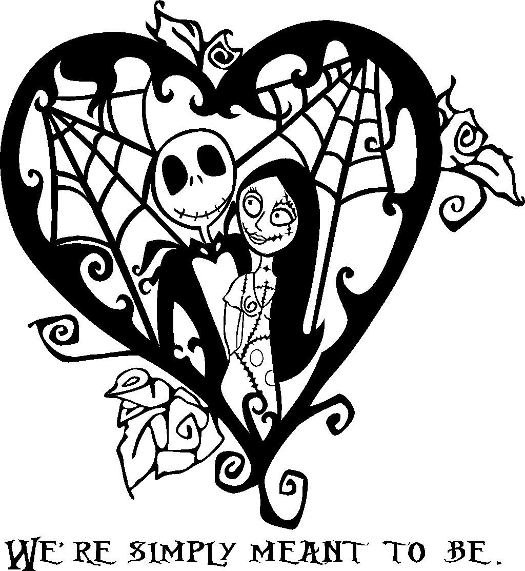 nightmare before christmas jack and sally heart vinyl decal