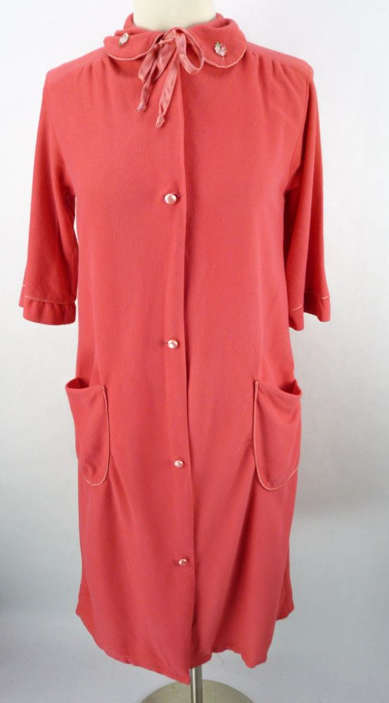 Vintage 60s Dark Pink Soft Fleece Flannel Nightgown Lounge Robe S ...
