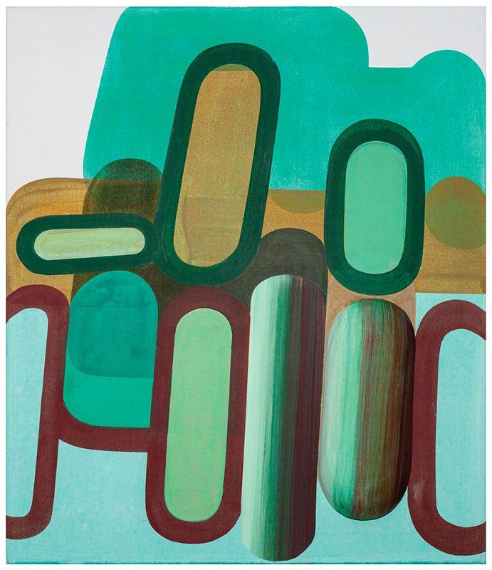 Gabrielle van de Laak: Tuinbonen 130x110cm acryl/polystyreen/gips op katoen 2012