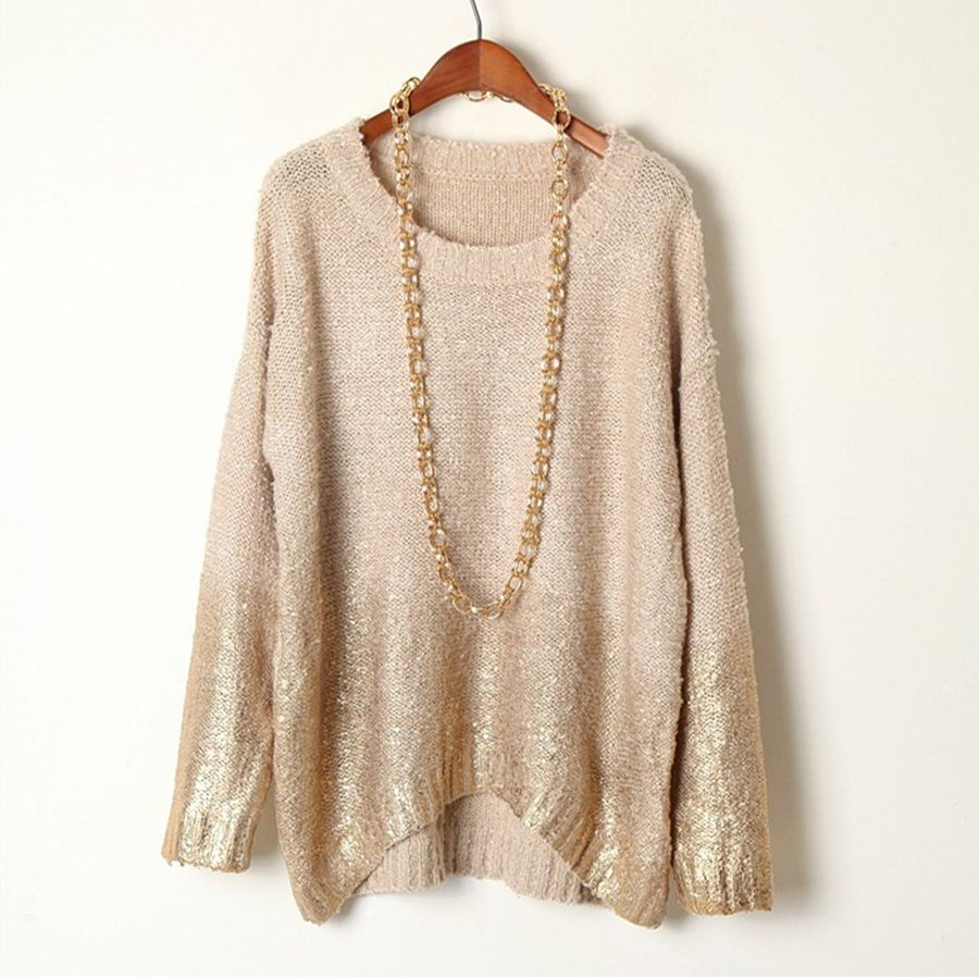 8187c42865 2015 New Winter Fashion Stylish Gold Hot Stamping Loose Long Sleeve Knitted  Sweaters For Women Graduated