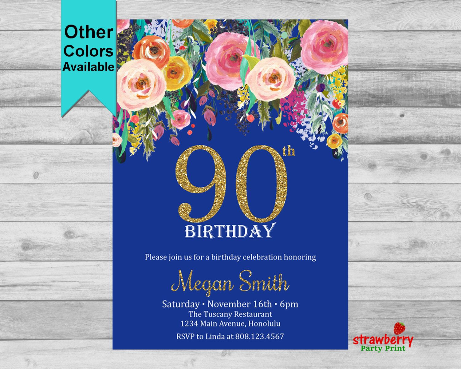 90th Birthday Invitation For Women Floral Gold Glitter Adult Surprise Party Invite Any Age 60th 70th 80th Digital Printable A15