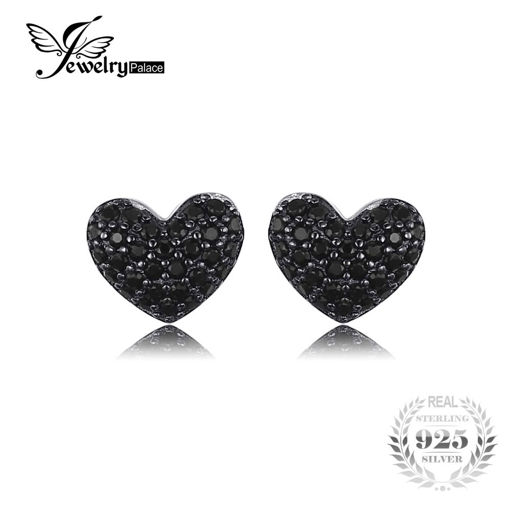 1aa4dc132602 JewelryPalace Fashion Natural Black Spinel Love Heart Earrings For Women  Solid 925 Sterling Silver Stud Earrings Jewelry(China)