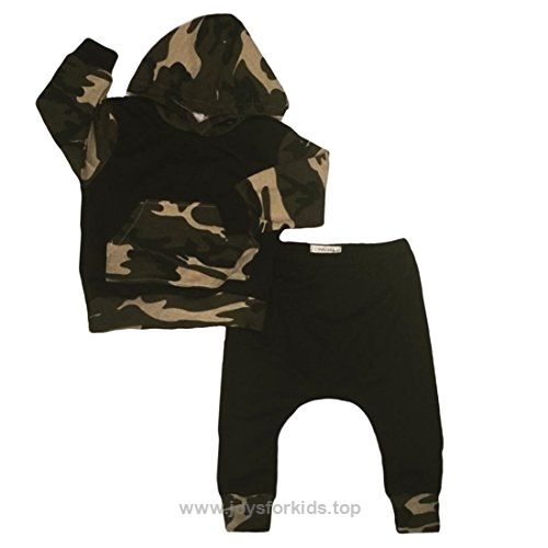 6fd5fe7798ec6 Infant Baby Boys Camouflage Hoodie Tops +Long Pants Outfits Set Clothes  0-3Y (