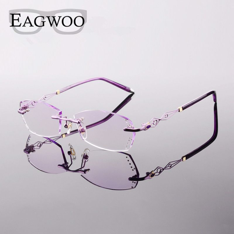 9c6bb84c2f1 Metal Alloy Acetate Eyeglasses Women Rimless Prescription Reading Myopia Photochromic  Glasses Spectacle with Color lenses 073