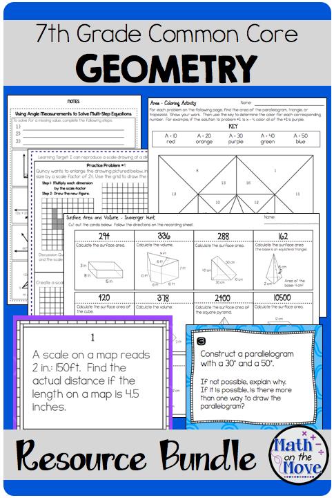 7th Grade Geometry Bundle of Resources Seventh grade