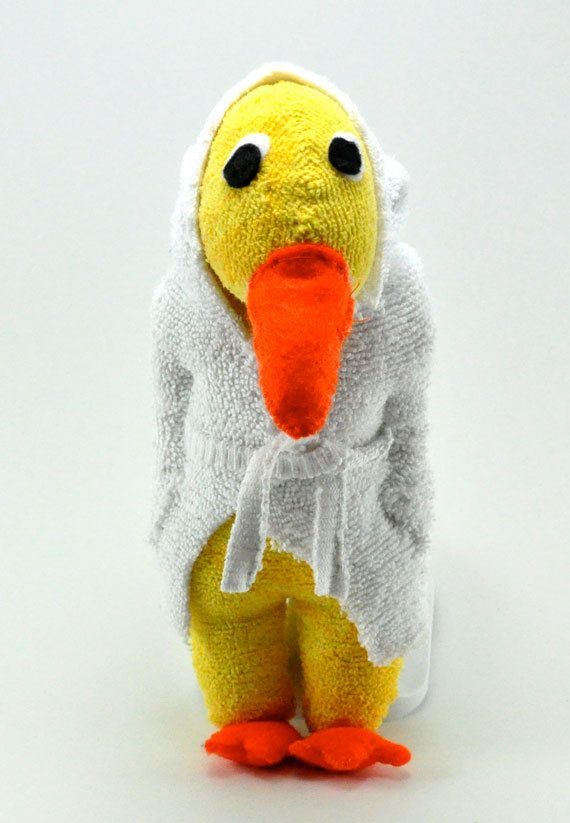 Handmade yellow duck sock animal great Canadian gift by sockart