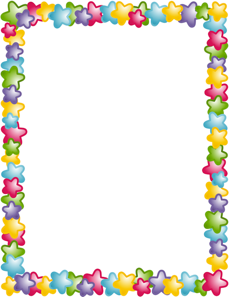 colorful page borders. A page border with stars in different colors  Free downloads at http
