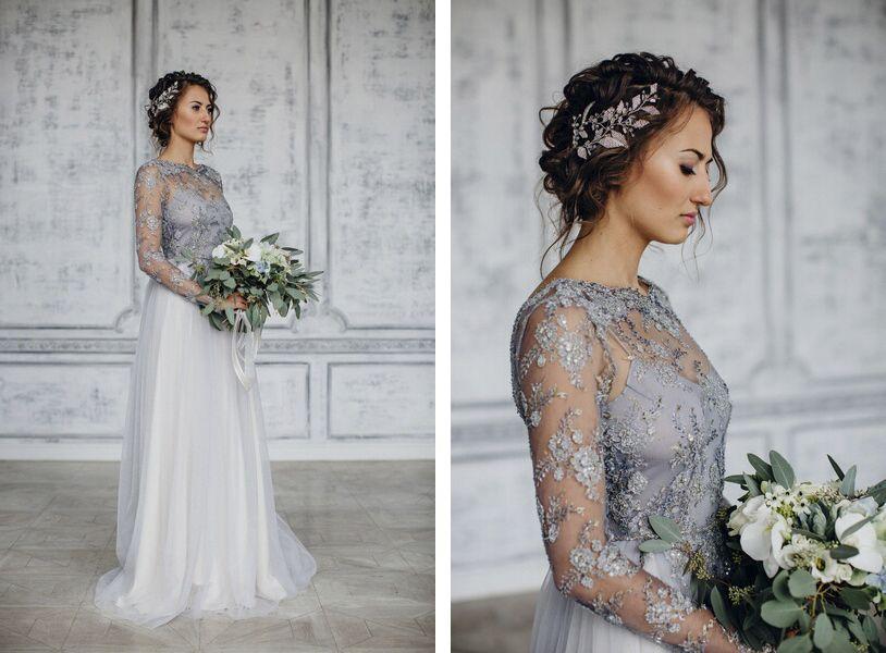 Light Gray Bridesmaid Dresses Knee Length Soft Tulle: Свадебное платье