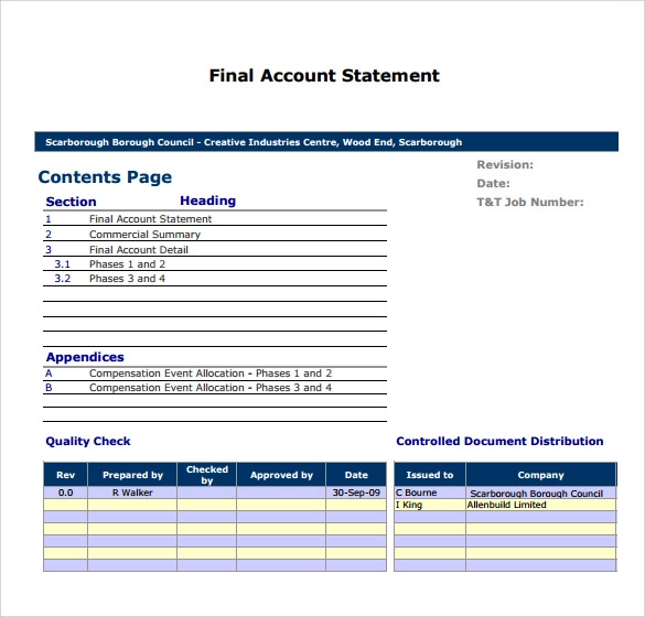 Statement Of Account Templates 14 Free Printable Word Excel