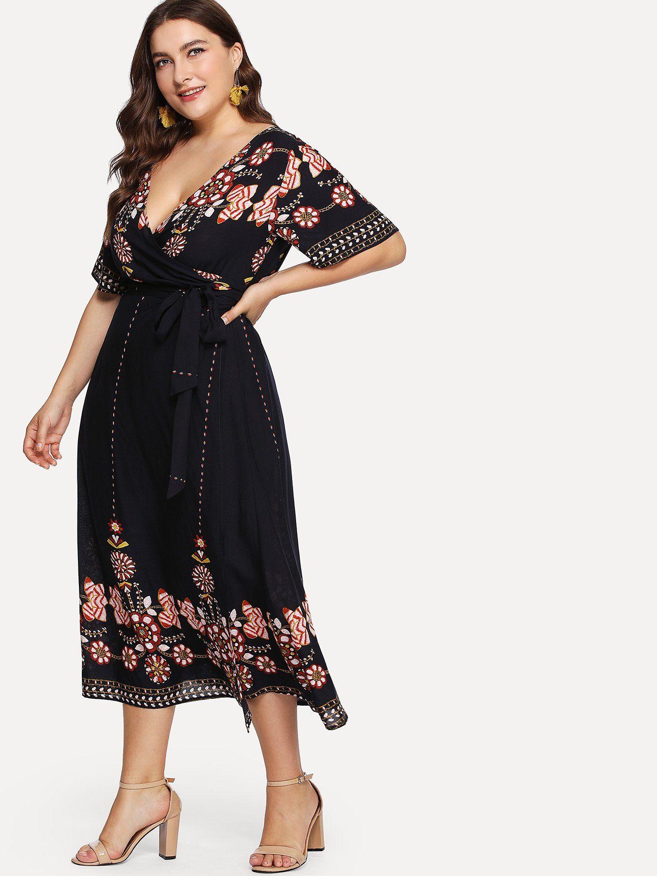 1ce4ac5993 Tribal Print Surplice Wrap Belted Dress -SheIn(Sheinside) | plus ...