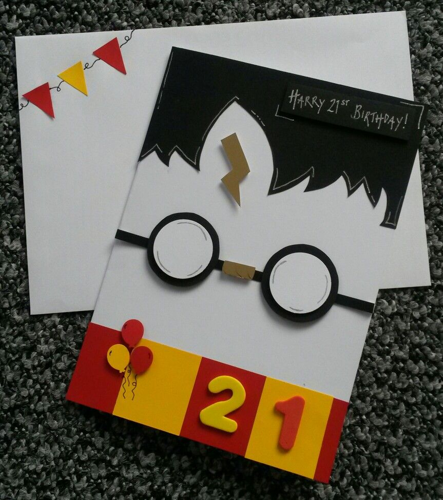 handmade birthday card 21st harry potter theme geschenke. Black Bedroom Furniture Sets. Home Design Ideas
