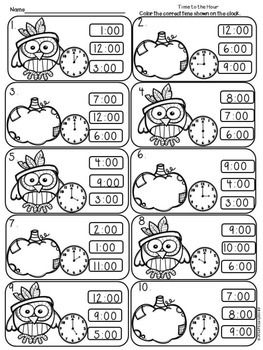 Color-  Read the time on the clock, color one of the three choices provided for time to the  hour