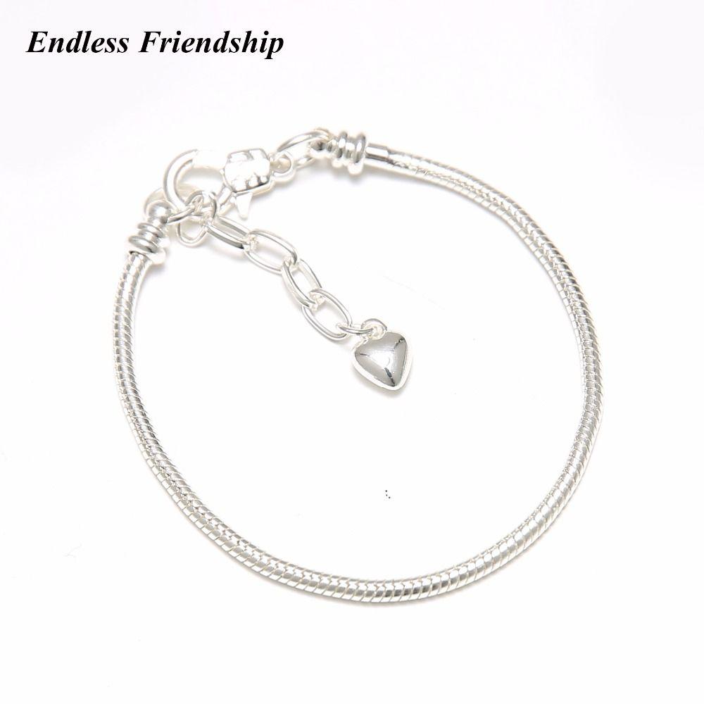 Bamoer réel S925 Sterling Silver Women Bracelet Eternal Love Charm /& Zircone cubique Bijoux