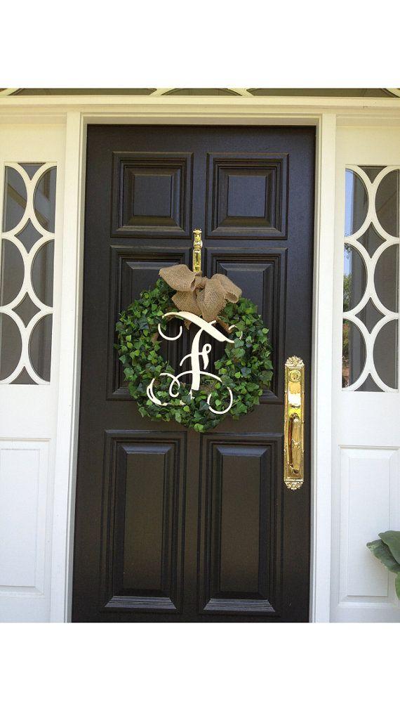Monogram Initial Boxwood Wreath With Burlap Bow Fall Decor Wedding Wreath On Etsy 85 00 Boxwood Wreath Decor Front Door Decor