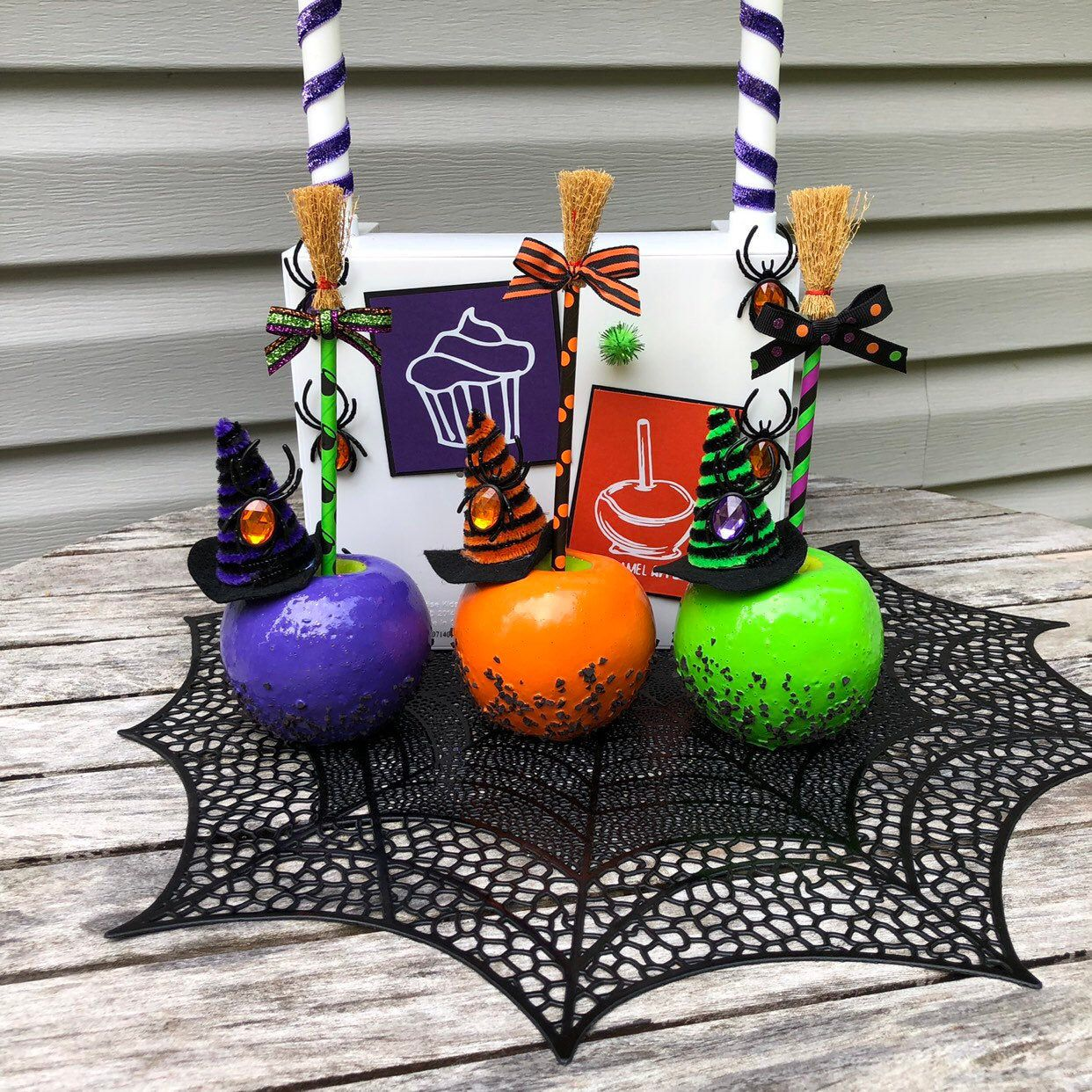 Caramel Covered Apples, Caramel Witch Apples, Purple Witch