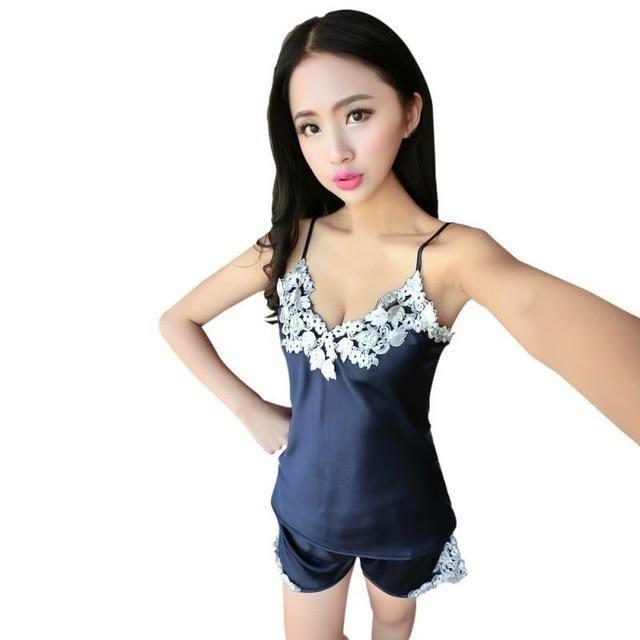 Ladies Sexy Silk Satin Pajama Set Lace V-neck Sleepwear Women Summer Style Home  Wear 4a3742d06