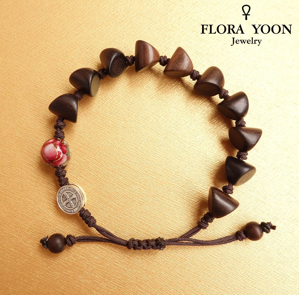 The Stylish Knotted Wood Rosary Bracelet With Antique Silver St Benedict Bead Handmade Anese Rose Catholic Adjule