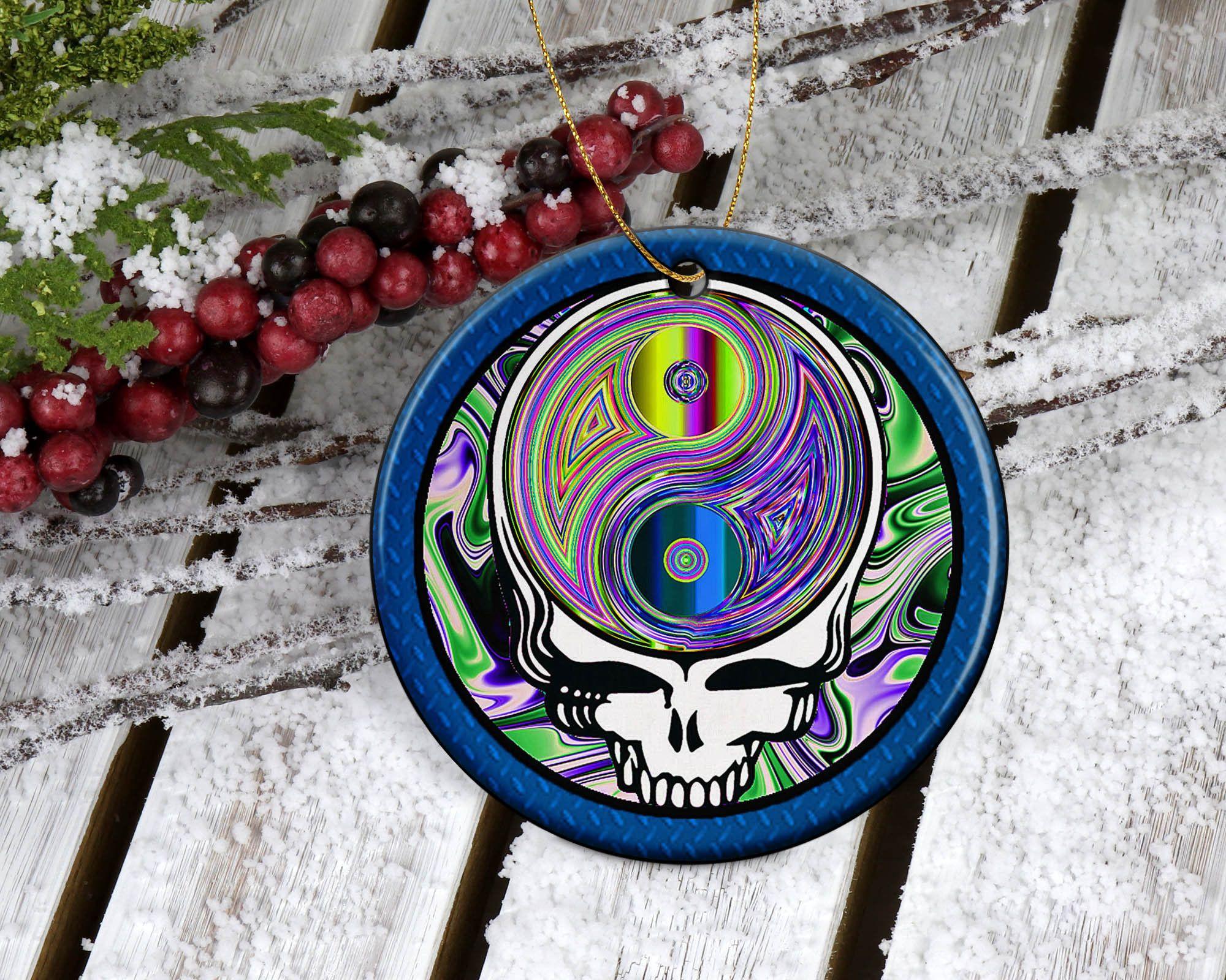 Dead Head Skull Porcelain Christmas Ornament Dead Inspired   Etsy in 2020   Porcelain christmas ...