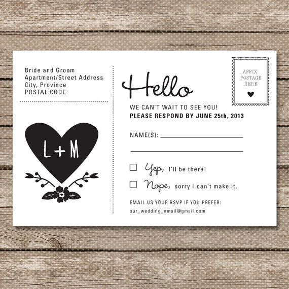 Wedding rsvp postcard printable pdf garden whimsy for How to send wedding invitations with rsvp