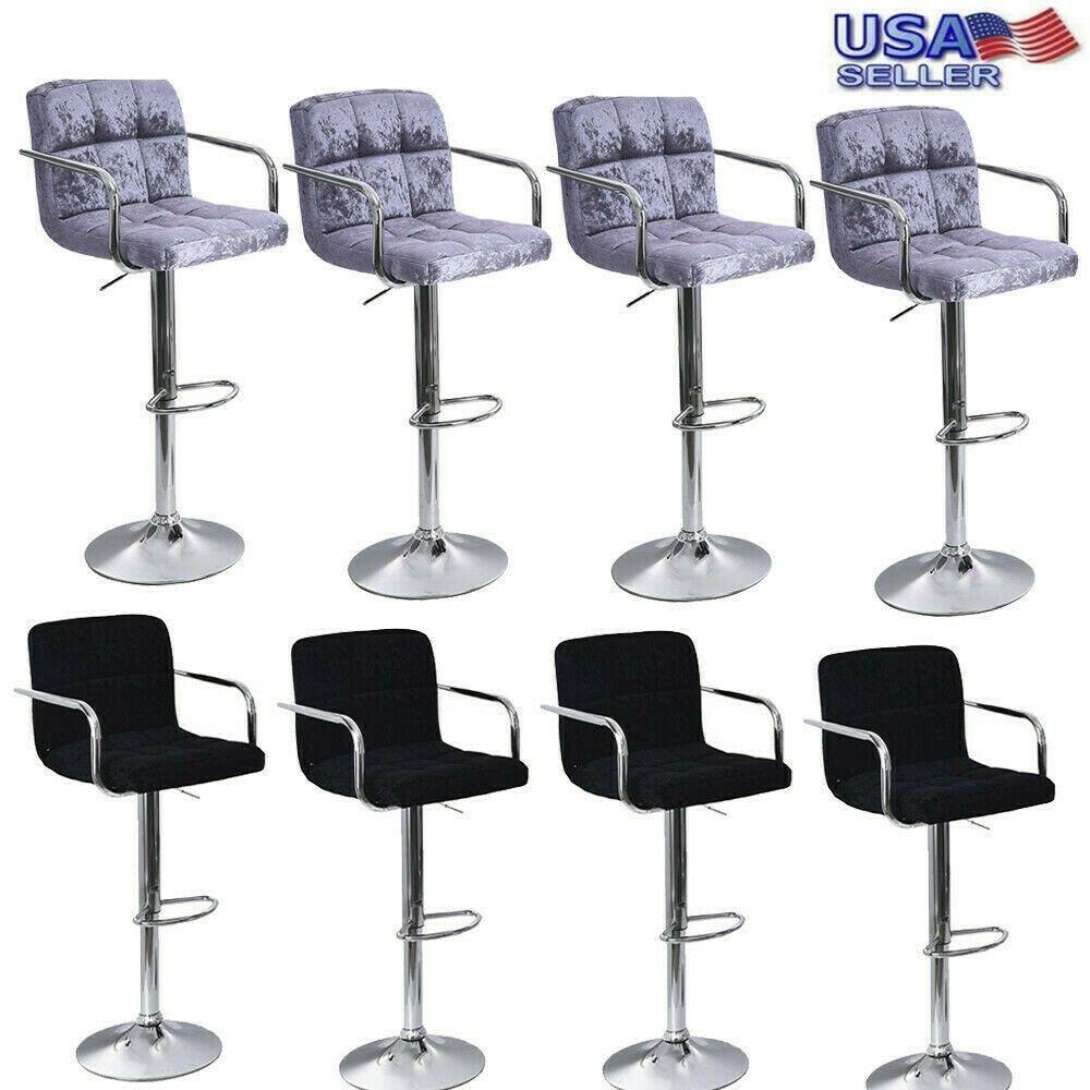 Set of 4 Bar Stool Swivel Seat Pu Leather Adjustable Hydraulic Pub Dinning Chair