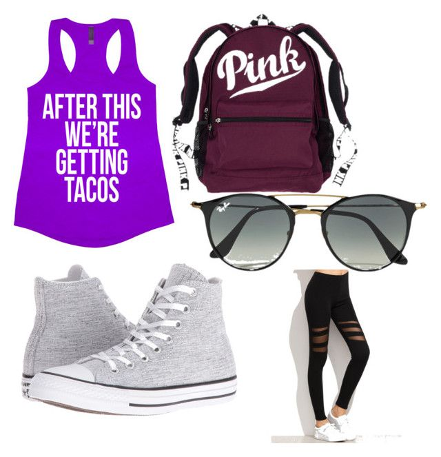 """my sis workout outfit"" by flawless2006 on Polyvore featuring Converse and Ray-Ban"