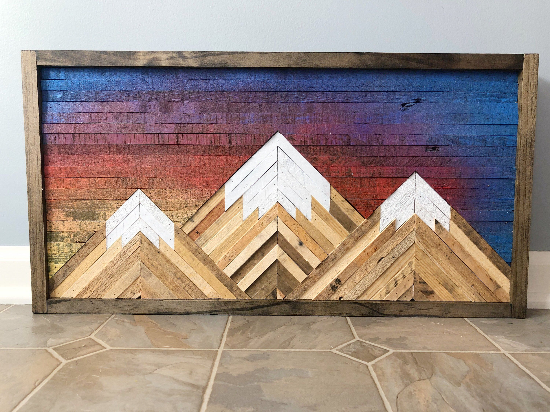 Mountain wood wall artdecor wood wall art decor diy
