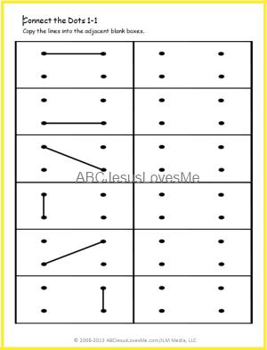 Printable dot grid imitation worksheets, progressively more ...