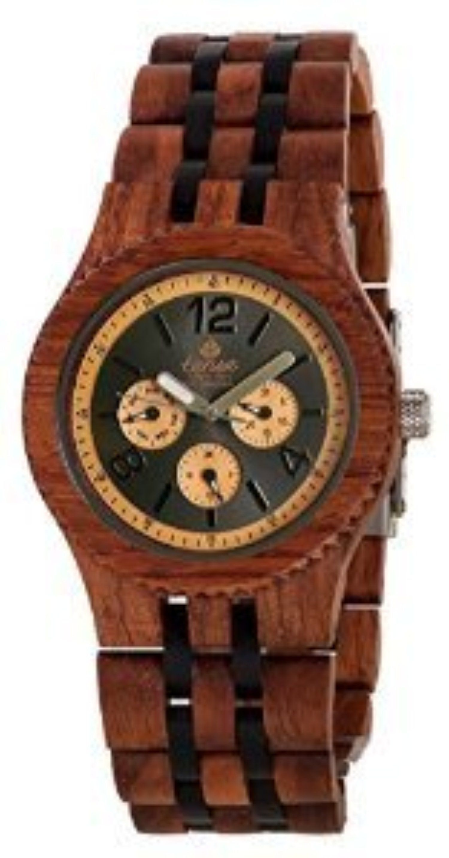 Tense Adventure Vernon Triple Dial Multifunction Two-Tone Jumbo Wood Watch J5203RD DL by Tense Wood Watches -- Awesome products selected by Anna Churchill