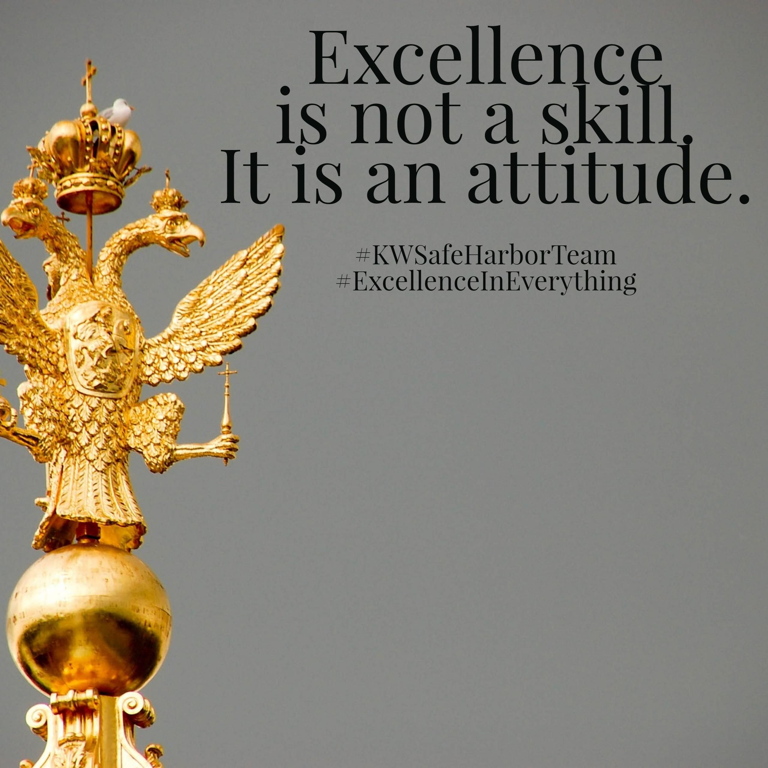 Excellence is the gradual result of always striving to do better.  #KWSafeHarborTeam #ExcellenceInEverything