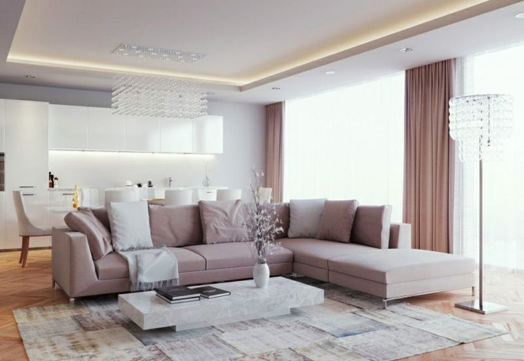 Emejing Idee Deco Salon Rose Et Gris Pictures   Amazing House Design .