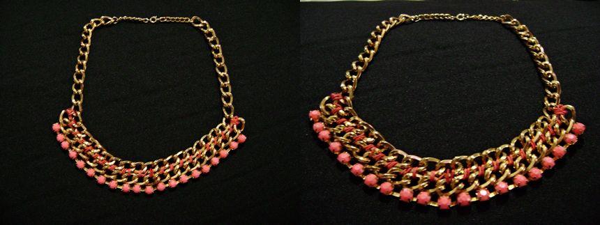 de1d8a10c491 Gargantilla en cadena tejida con piedras color coral.
