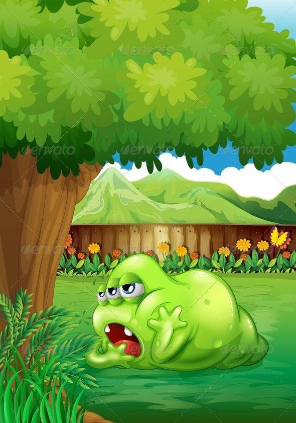 Tired Monster Under Tree   Vector monster, Poster design ...