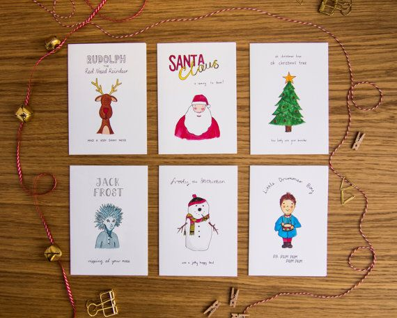 sale christmas cards set of 6 christmas characters santa - Cheapest Christmas Cards