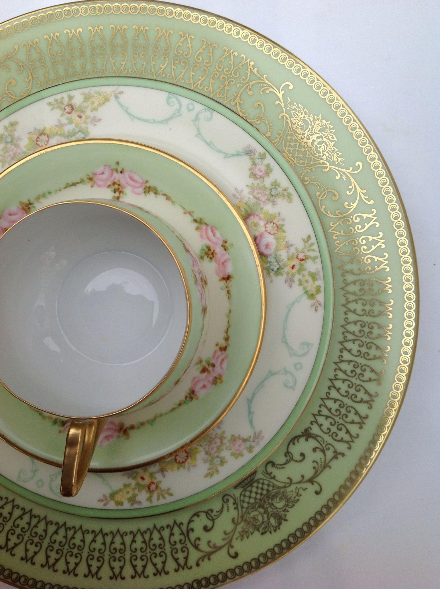 Vintage KPM teacup Meito China Tirschenreuth botanical floral plate