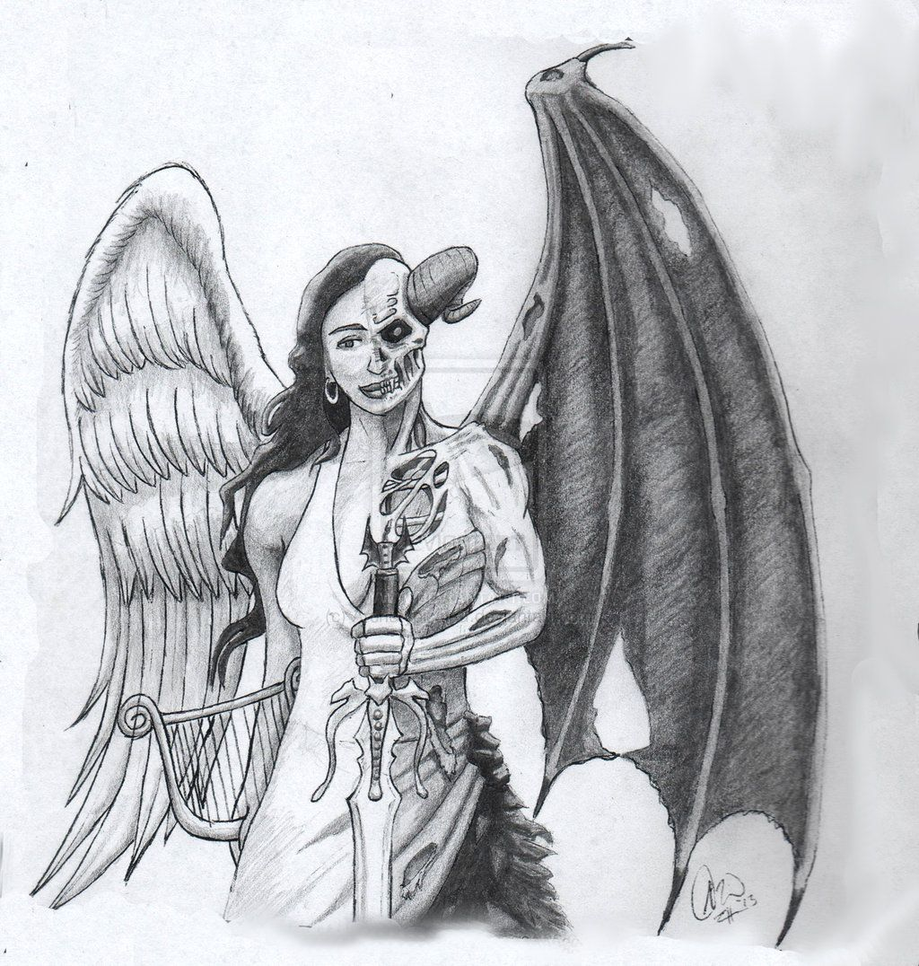 Demon drawings fantasy drawings my drawings pencil drawings angel devil tattoo