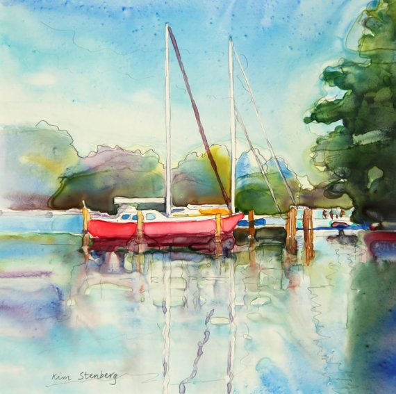 """Boat Painting, Original Watercolor Painting, """"Red Boat"""" by Kim Stenberg, Rich Impressionistic Art, 12 x 12""""  Matted on Etsy, $125.00"""