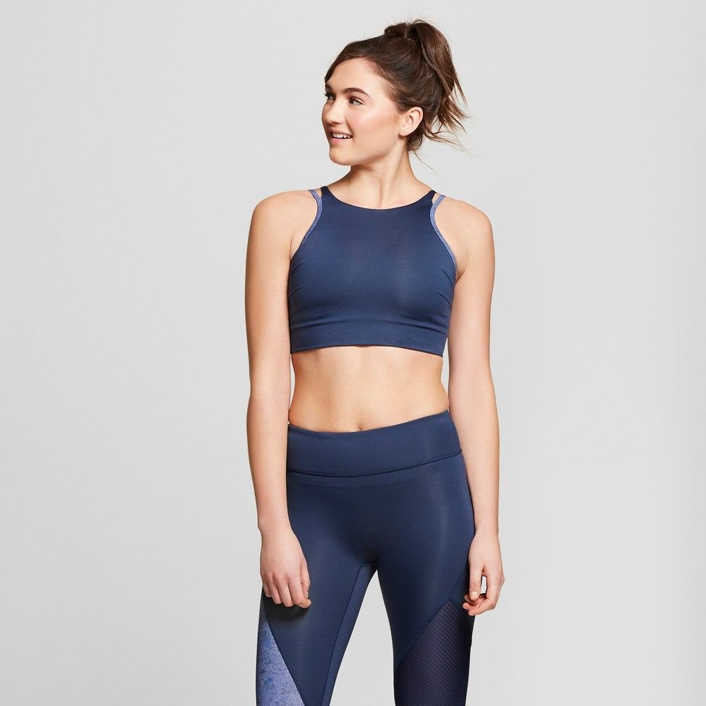 712adf6accd398 Women s High Neck Sports Bra with Back Cut Out - JoyLab Navy S
