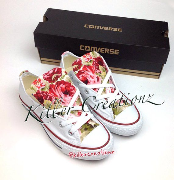 77320044813c Custom Converse low tops with floral print ANY SIZE