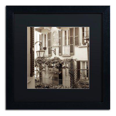 "Trademark Art 'Bellagio I' Framed Photographic Print Size: 16"" H x 16"" W x 0.5"" D, Mat Color: Black"