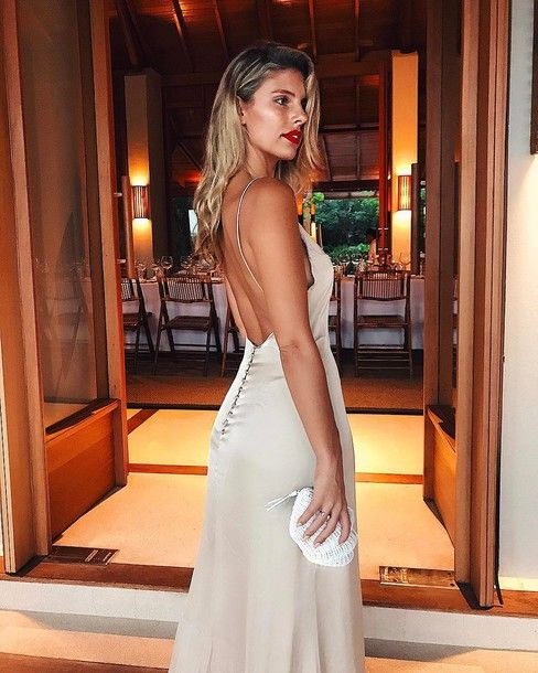 $250 Gorgeous Beautiful Silk Satin Backless Strappy Cami Button Up Detail Nude Beige Open Back Backless Maxi Dress And Bright Red Lipstick Spring Summer Date Night Outfit Tumblr