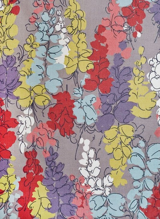 Fairfield Floral Curtain Fabric Thin Grey Cotton With Dense Coral And Aqua Print