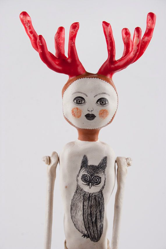 SALE Art Doll with Antlers Deer Sculpture Mixed by DoubleFoxStudio, $500.00