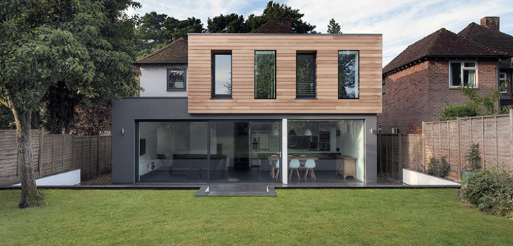Modern extension with western red cedar cladding for Modern house exterior uk