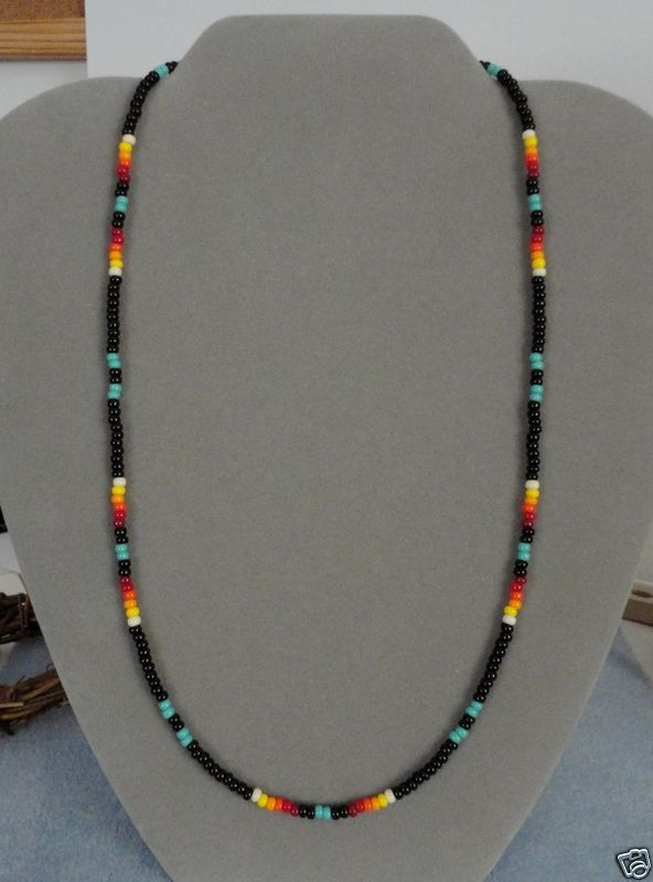 Details About Turquoise Blk Beaded Necklace Mens Wom