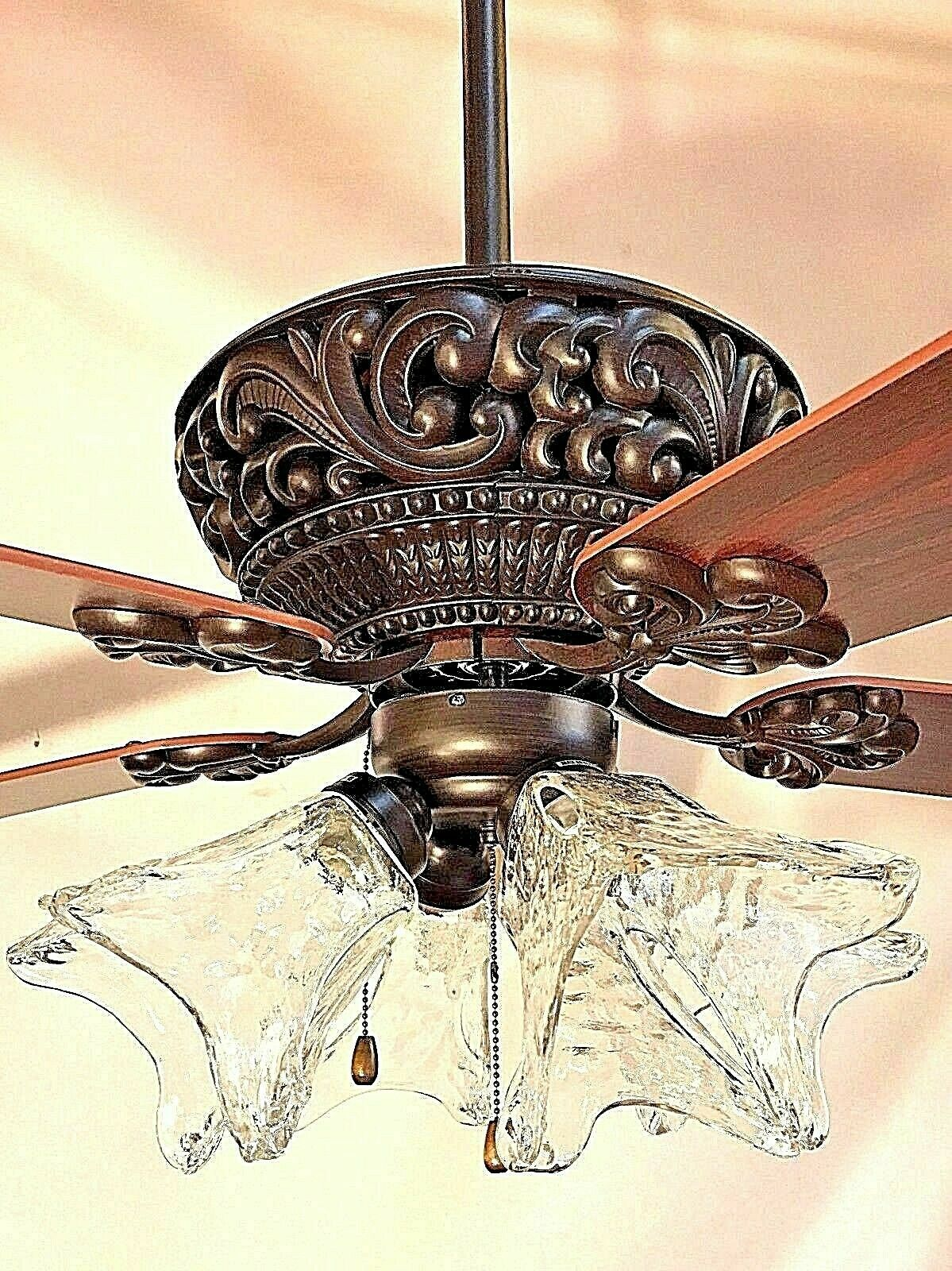 """52/"""" ORB oil rubbed bronze ceiling fan with 4 light clear hand blown glass va md*"""