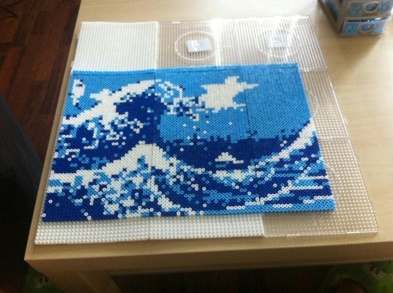 Création En Perle à Repasser La Vague Hokusai Estampe Création