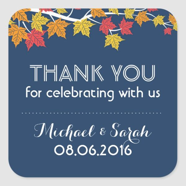 Autumn Maple Leaves Falling Thank You Sticker | Zazzle.com #autumnleavesfalling