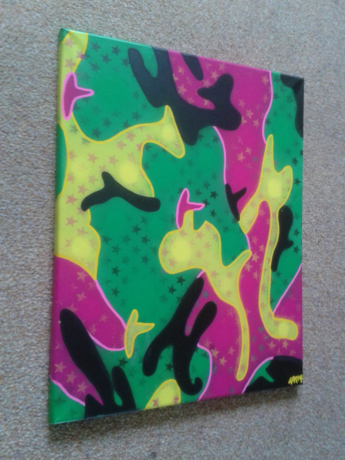 Abstract camouflage in neon 16 by 20 inch by AbstractGraffitiShop ...