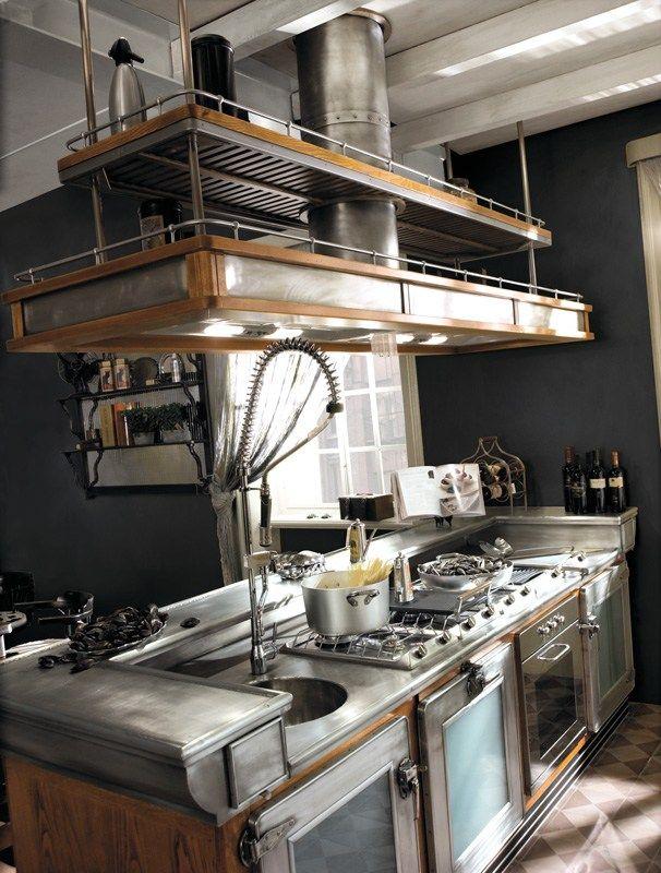 Cucina componibile in acciaio inox e legno con isola BAR ...