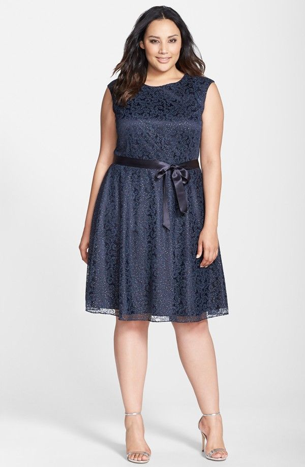 Flocked Lace Fit Flare Dress Plus Size Fatty Dresses